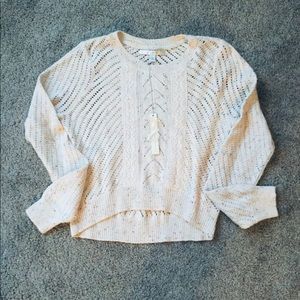 NWT Lauren Conrad Pointelle and Lace Sweater